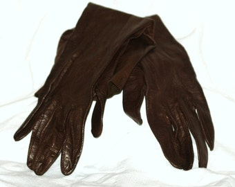 Vintage 3/4 Length Woman's Brown Gloves- Extra Small