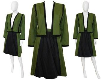 Yves Saint Laurent YSL 1970s Vintage Set Skirt Suit Jacket Blazer Skirt Olive Green Black US 8 Medium
