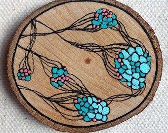 Abstract Wood Slice Painting - OOAK - Home Decor - Teal, Coral, Ink