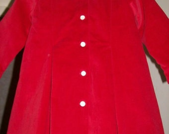 Red velveteen coat, size 2