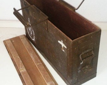 Coastal Vintage: British Army Genuine Vintage  50 caliber Wooden Ammo Box with Metal Clips & Handles and Original Paintwork