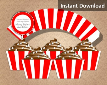 Red, White Stripe Cupcake Wrapper Instant Download, Movie Night, Circus, Nautical, Whimsical, Party Decorations