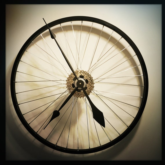 Bike Wheel Wall Clock Man Cave Gift Industrial Wall Clock