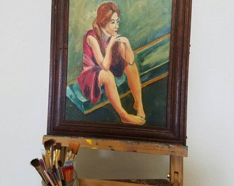 mystery lady - vintage oil portrait painting of pensive woman on diving board, framed canvas on board, orignal art, 9 X 12