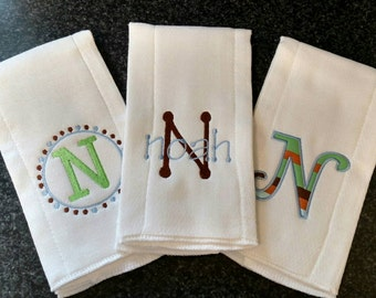 Custom Embroidered Applique Personalized Burp Rags Baby Boy Girl Shower Gift Set Push Gift Cloth Diapers Name Monogram Initial