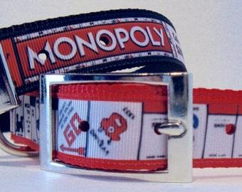 MONOPOLY Ribbon Dog Collar ... Large Dog Collar ... Matching Leash .... Key Fob ... Popular Board Game