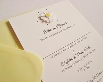 Personalised Handmade Daisy Wedding Invitation Sample