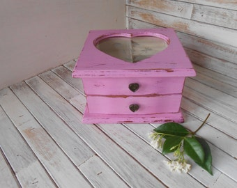 Pink Jewelry Box - Vintage Jewelry Box - Shabby Chic Jewelry Box - Painted and Distressed Jewelry Box - Jewelry Box - Wood Jewelry Box