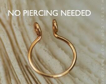 FAKE Septum Ring/Fake Piercing/No piercing/Septum Fake Piercing/Faux Septum Ring/Fake Nose Piercing/fake septum ring silver