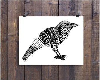 Crow Art, Print A4, 8 x 10 Art, Black and white Art, Bird Art, Folk Art, Pen and Ink Art, Drawing, Illustration Print, Art Print, Crow Gift