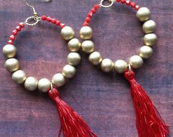 Hoop Earrings, Bead Earringa, Red Crystal,Tassel Earrings