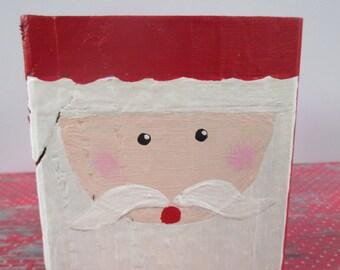 Hand painted wood Santa, holiday decor, Christmas decor