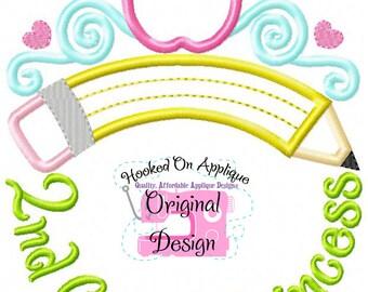 Second Grade Princess Tiara Monogram with Phrase - Custom Tee