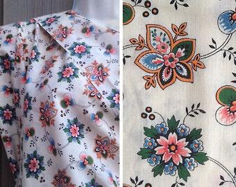 Destash fabric sale | Vintage cream calico print retro floral cotton