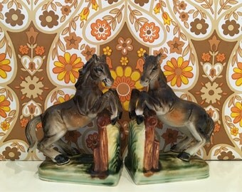 Vintage Pair of Horse Bookends Kitsch Cute China Foal