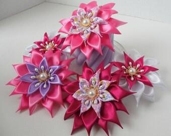 Kanzashi Flower Ribbon Flower French Barrette Hair Accessory