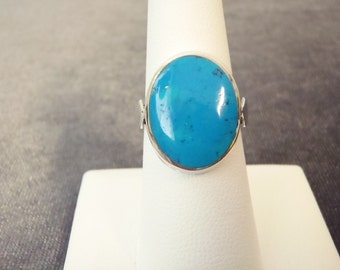 Sterling Silver Oval Turquoise Ring Sz.6 3/4 R78