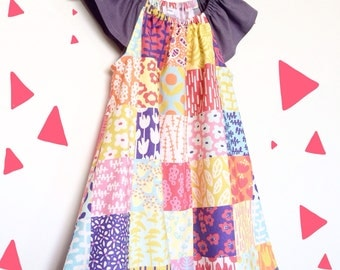 Beautiful Block Patterned Flutter Sleeve Dress, 100% Cotton, Size 2/3 Toddler