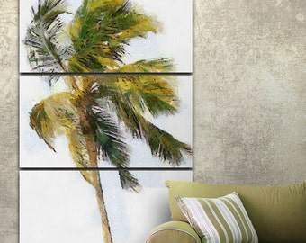 Single Palm Canvas Gallery Wrapped Painting Wall Decor Triptych