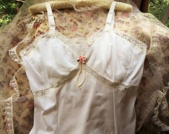 Vintage White Full Slip With Lace Trim By Adonna