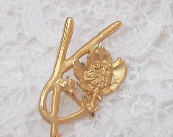 SUMMER SALE Vintage Kenzo Pin Brooch, Kenzo Brilliant Matte Gold Flower