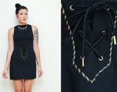 Vintage 90s black MINI SKIRT // size 8 metallic GOLD embellished high waist skirt // Donna Degnan corset lace gothic chic skirt