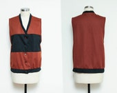 Vintage 60s COLOR BLOCK vest // unisex BROWN and black polyester top // 70s sleeveless knit button down top