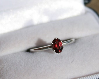 Red Spinel Ring Oval Solitaire Sterling Silver Engagement Promise Ring Stacker Ring Size 7