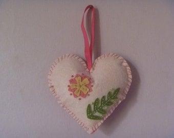 floral felt heart, hanging heart decoration, ecofriendly