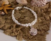 Seashell Bracelet - Beach Wedding - Flower Girl Jewelry - Destination Wedding - Flower Girl Gift - Shell Charm Bracelet - Layla