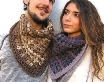 Cowl Scarf Woven Scarf Unisex scarf Gift for her for him Travel Scarf, Minimal Scarves Couple of scarves READY to be sent or MADE to ORDER