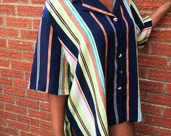 Vintage 80's Navy Multicolored Striped Blouse Shirt Designer Essentials / Smooth Silky Polyester