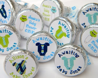 Baby Shower Favors - Personalized Onesie Baby Shower Favors - Baby Shower Decorations - Baby Shower Hershey Kiss Stickers - Baby Boy Onesie