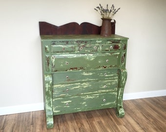 Tall Dresser, Green Dresser, Large Dresser, Empire Dresser, Early 1800s American Empire, Walnut Solid Wood Chest of Drawers,