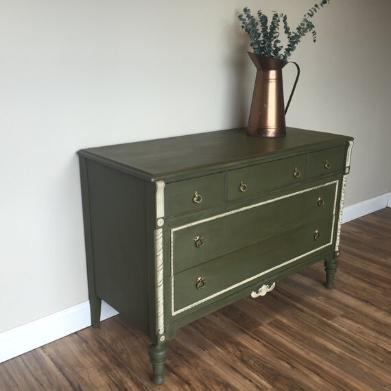 Antique Chest Of Drawers Green Dresser Unique Bedroom