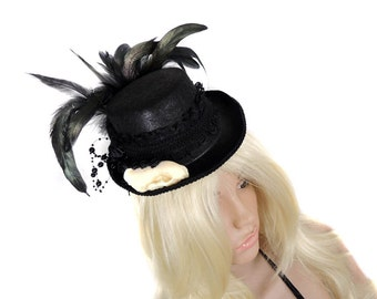 Goth victorian mini top hat headdress with animal skull feathers taxidermy mini hat burlesque halloween historic steampunk