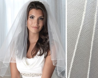 Pencil Edge Bridal Veil, 2 Layer Wedding Veil, Tulle Veil, Ivory Veil, White Veil, Fingertip Length Veil, Elbow Length Veil, Veils ~VB-402