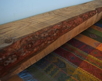 "Reclaimed Wood Fireplace Mantel Shelf 51"" x 6"" x 4"" - Antique 1700s 1800s Barn Wood Rustic Distressed Beam"