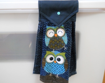 OWLS adorn this lovely  hanging navy kitchen towel.