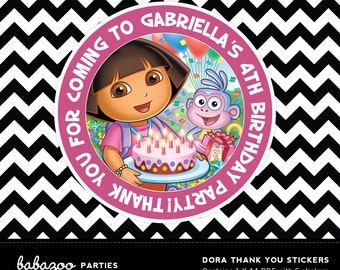 Dora the Explorer Personalised Thank you stickers