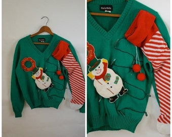 Sale Ugly Christmas Sweater / Vintage Sweater / DIY Christmas Sweater / Christmas Sweater / Snowman N Stockings Sweater S/M/L