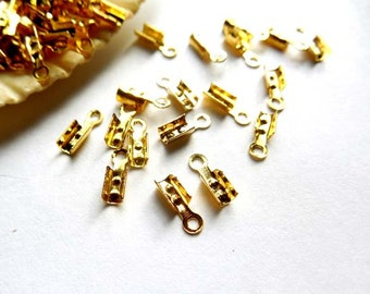 50/100 Gold Plated Cord End Tips - 17-GO-6