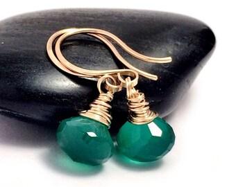 Green Onyx Gold Drop Earrings | Gold Filled | Emerald Green Gemstone Earrings | Earrings UK