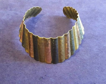 Vintage retro brass copper metal torque choker necklace cuff