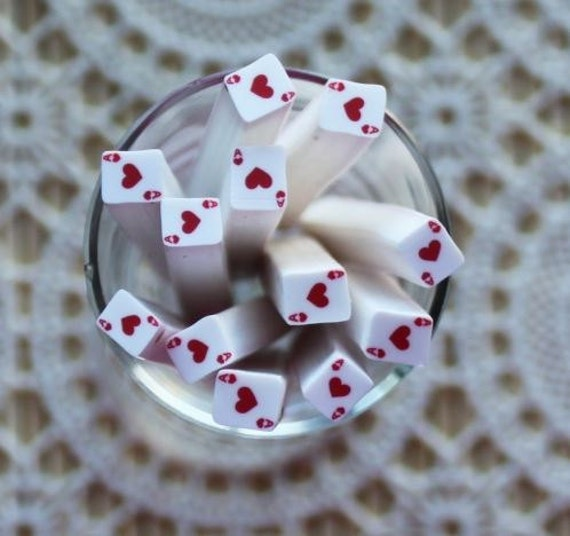 1 Piece. 5mm Ace of Hearts Polymer Clay Cane. Craft Supplies. Jewellery Supplies