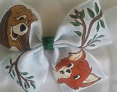 Boutique Inspired Fox and the Hound Handpainted Slide Hairbow