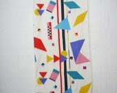 Vintage 80's/ 90's retro geometric multi-colored patterned pillowcase set king sized