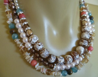 Triple Strand Staement Necklace with Blue and Pink Accents
