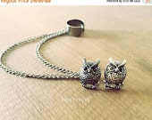 Valentines Sale Tiny Vintage Owl Inspired Stud Set with Detachable EarCuff