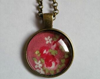 Pink Floral Necklace, Pink Vintage Floral Fabric Necklace, Antique Bronze Pendant Necklace